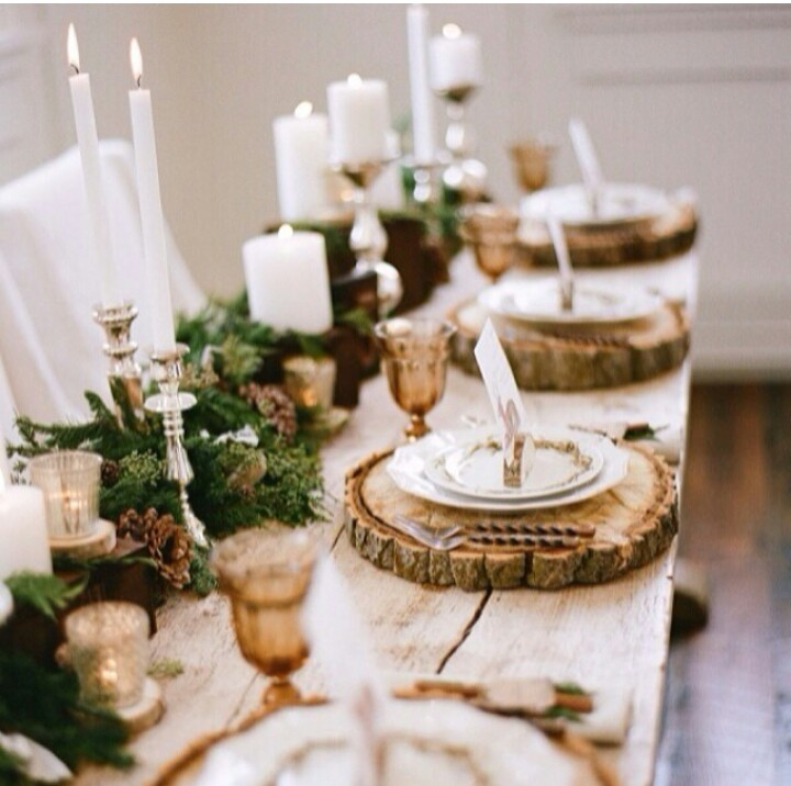 wood rustic christmas center piece - Easy Christmas Table Decorations Ideas